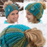 ribbed bun hat free crochet pattern, free crochet patterns on ravelry, free crochet hat pattern, messy bun hat, messy bun hat patterns