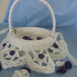 crochet flower girl basekt pattern, free crochet pattern for flower girl basakets, how to crochet a flower girl basket