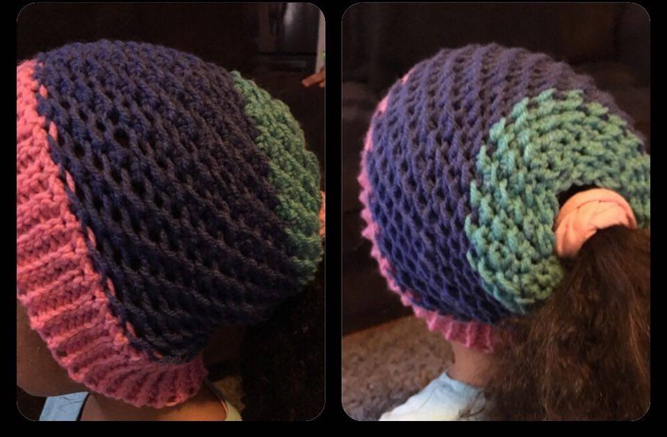 moss stitch messy bun hat - free crochet pattern - DIY From Home 591d5144aed