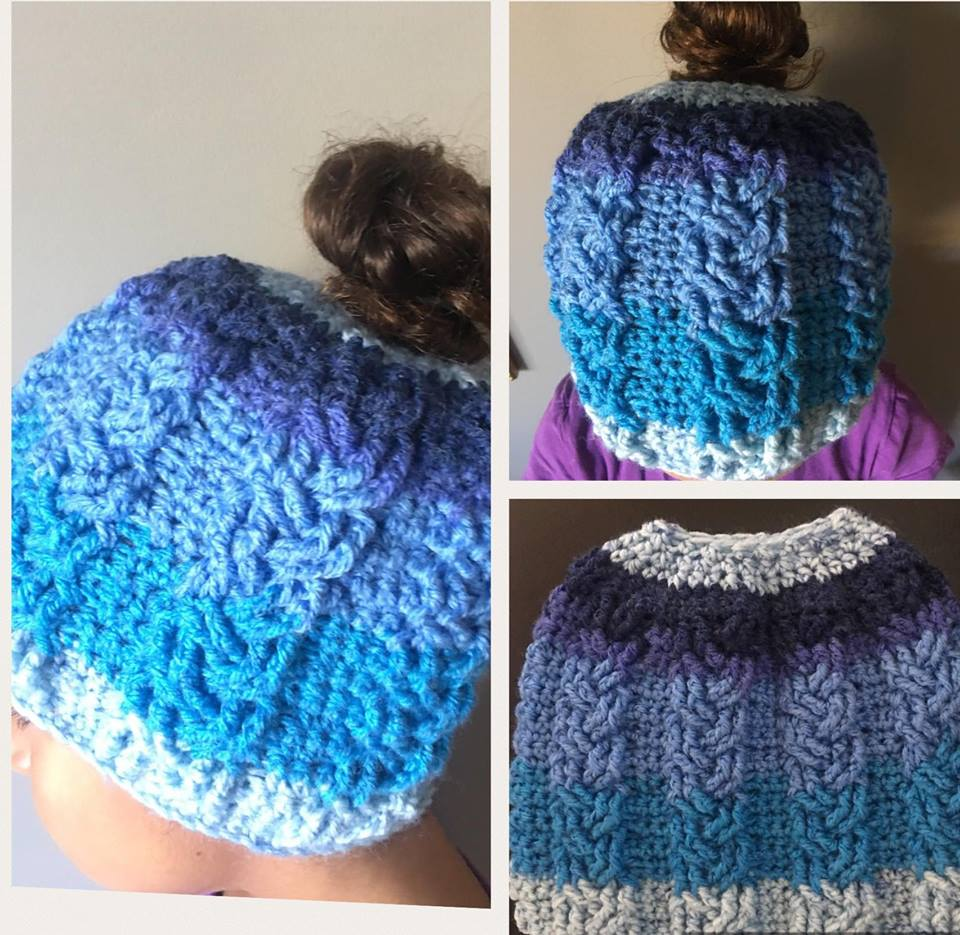 Free Pattern Crochet Cable Stitch Bun Hat Diy From Home