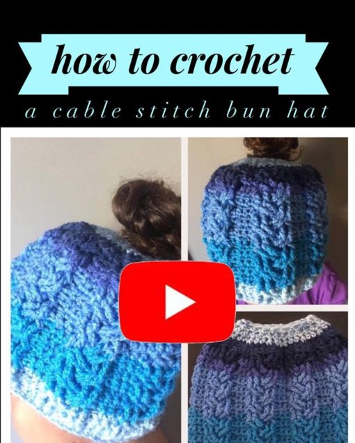 New Youtube Video Tutorial Cable Stitch Bun Hat Full Pattern