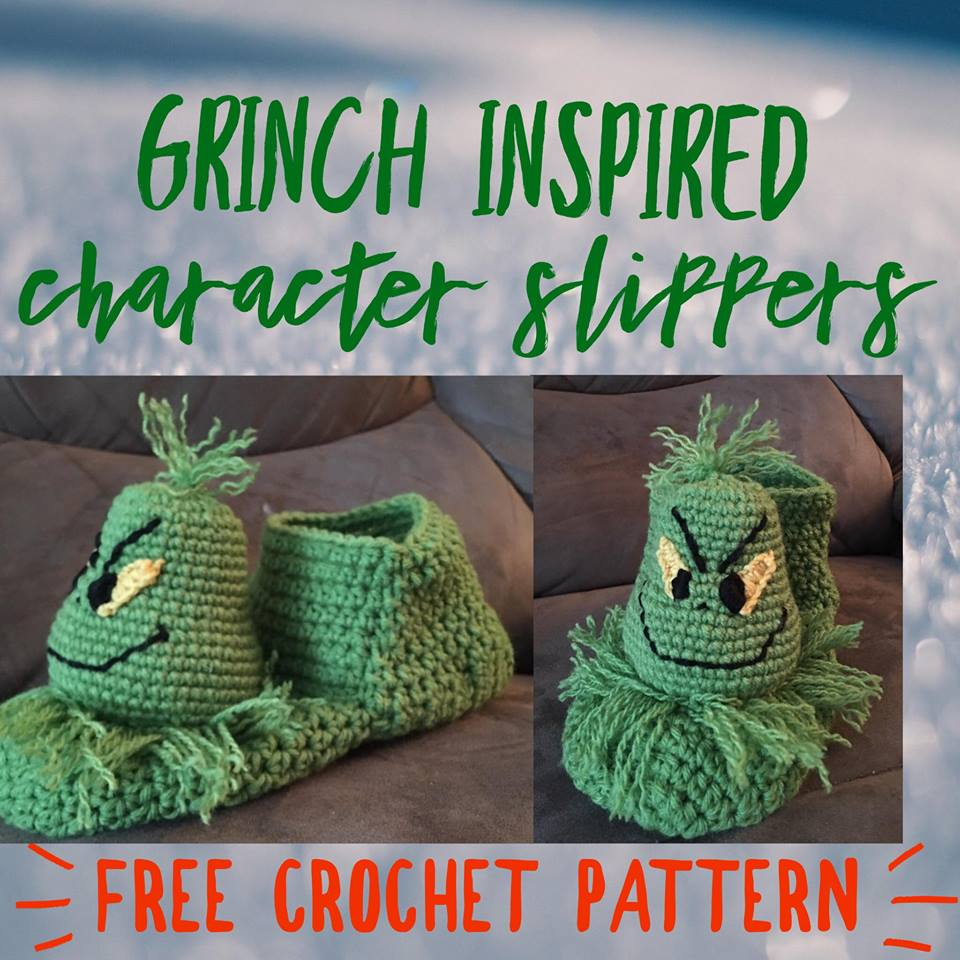 Grinch Inspired Christmas Slippers - free crochet pattern 275a09f4db9