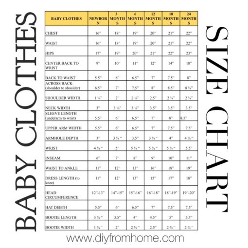 Baby Clothes Size Chart Diy From Home